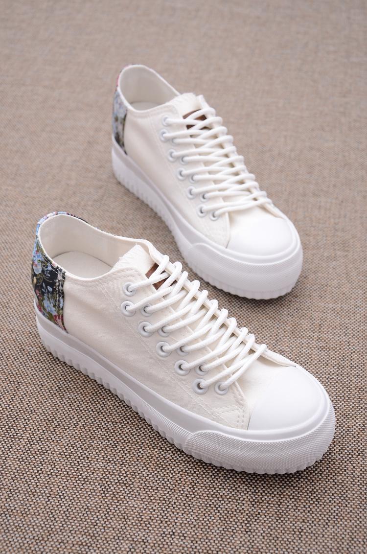 kido碎花拼接长鞋带厚底帆布鞋