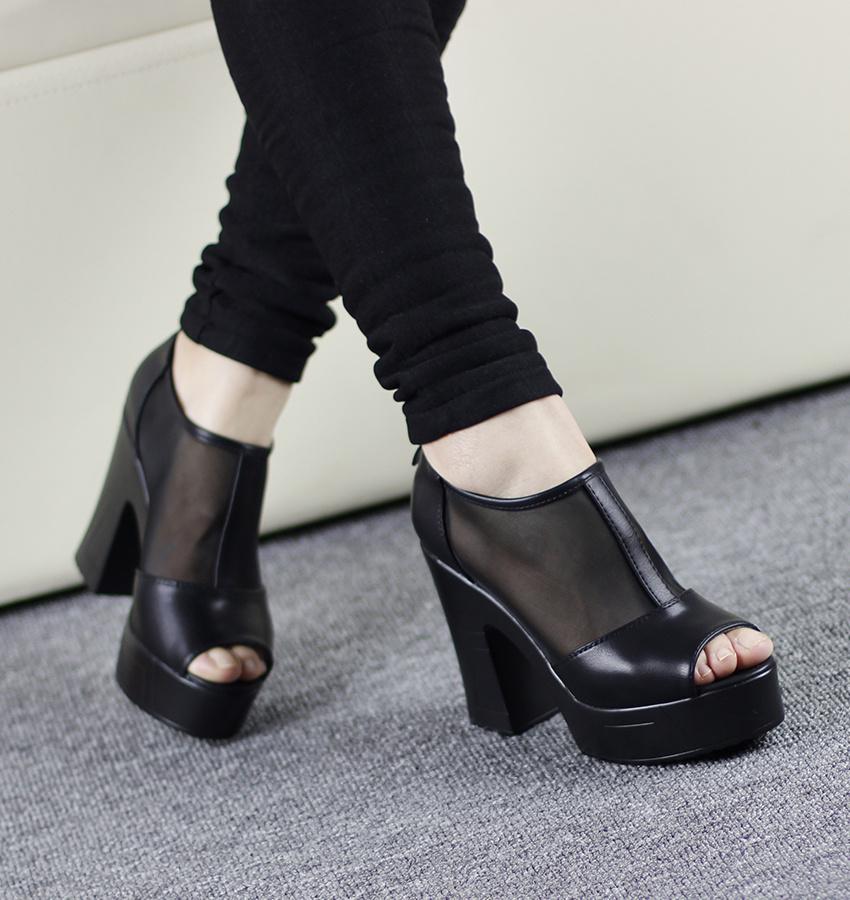 韩版网面粗跟高跟鱼嘴鞋