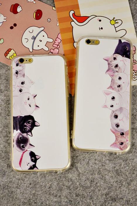 猫咪情侣浮雕全包硅胶苹果手机壳