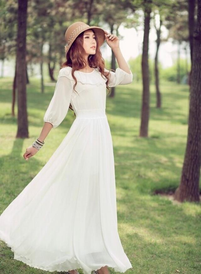 优雅天蓝荷叶领拖地长裙