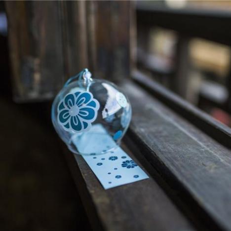 玻璃风铃 日式和风木槿花手绘