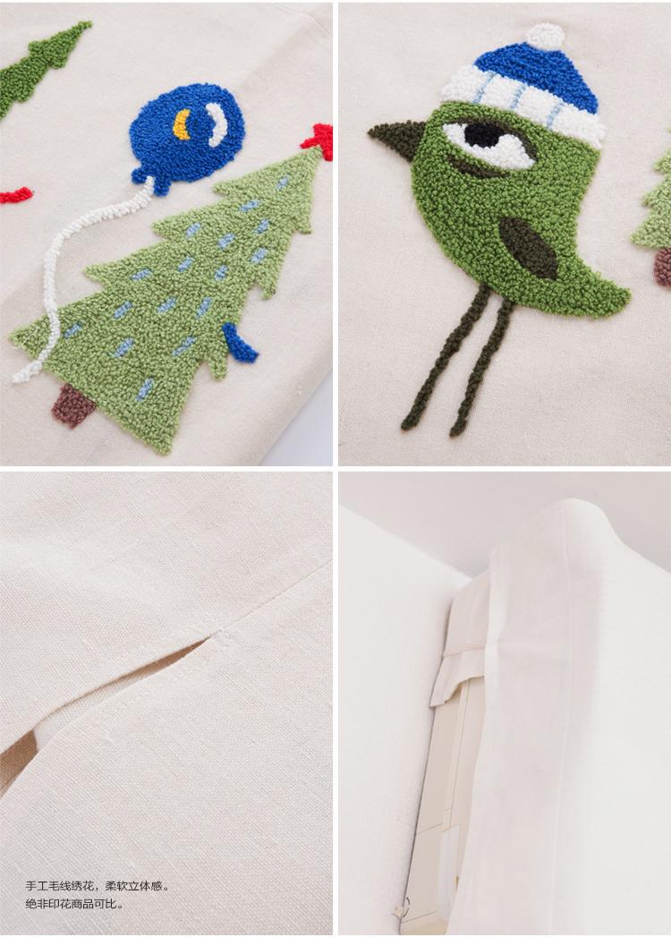 可爱小鸟刺绣卡通田园布艺空调罩