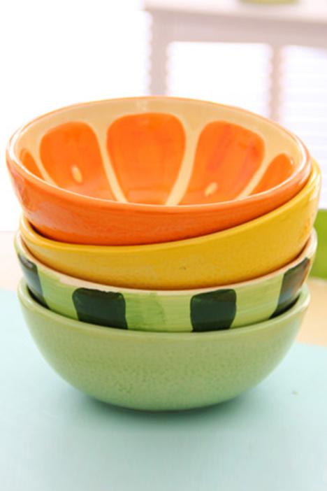 日式手绘可爱卡通陶瓷水果碗