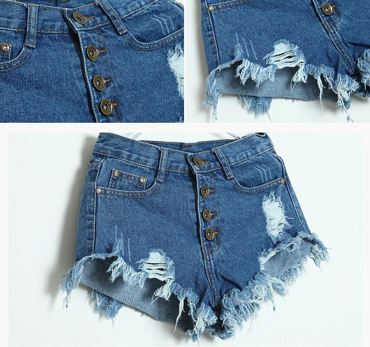 【破洞排扣毛边牛仔短裤】-衣服-牛仔裤