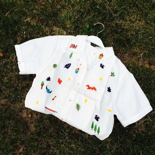 卡通动物刺绣短袖衬衫