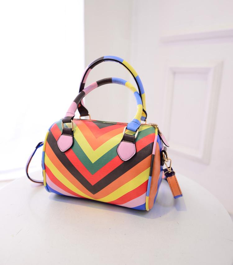 彩虹条纹手提包】-包包-箱包皮具