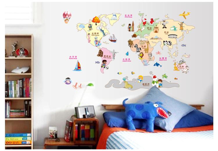 【简一】卡通动物世界地图墙贴画
