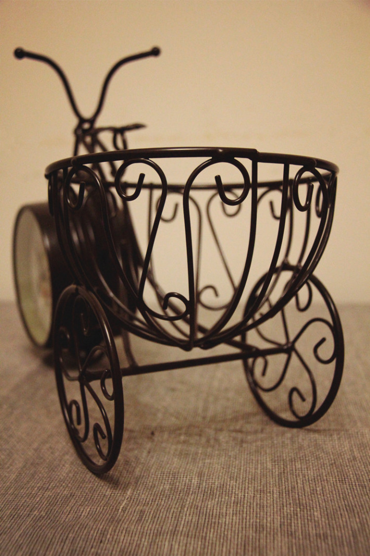 【复古欧式自行车时钟花架(大)】-家居-摆件