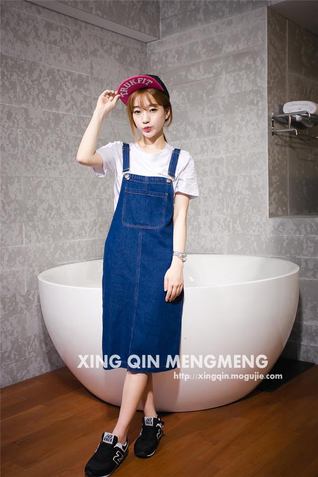 【韩版口袋牛仔背带裙】-衣服-裙子