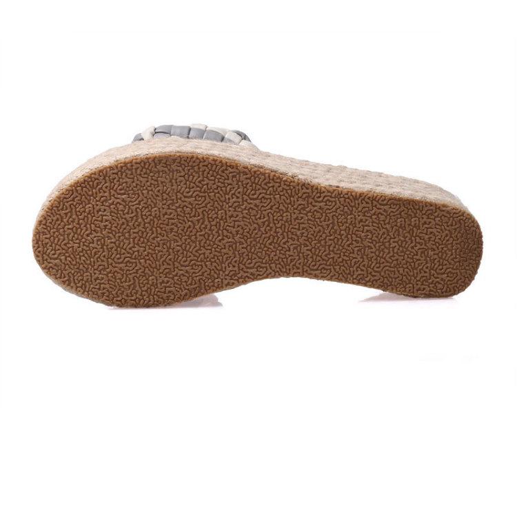 【编织鞋面一字型厚底凉拖鞋】-鞋子-拖鞋