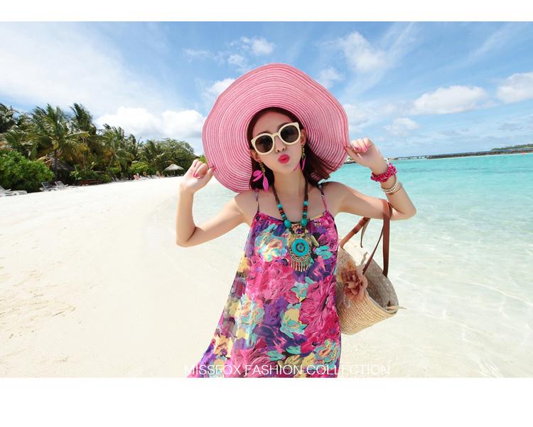波西米亚碎花吊带海边度假长裙