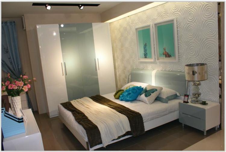 欧瑞家具甲壳虫系列卧房板式双人床高箱床排骨架床