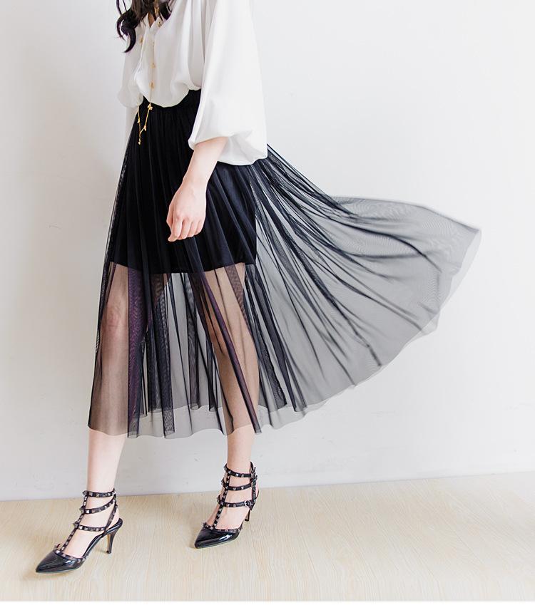 【透视黑纱压褶松紧腰半身裙】-衣服-半身裙