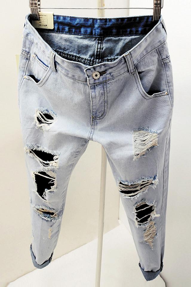 韩版休闲显瘦浅色破洞牛仔裤