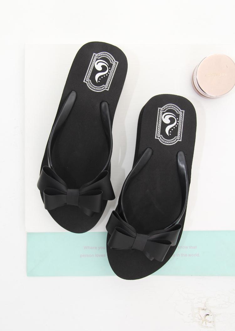 手工制作厚底坡跟蝴蝶沙滩凉拖鞋