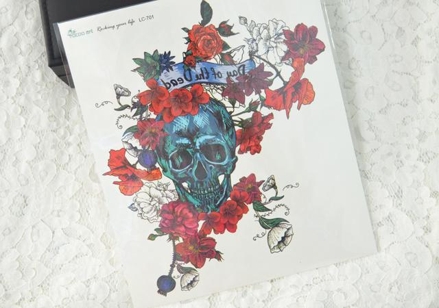 (单张)彩色骷髅花朵大花臂