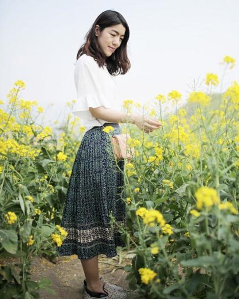 韩式清新文艺复古碎花百褶裙半身裙长裙
