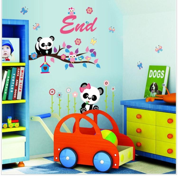 【可爱卡通熊猫吃竹子墙贴贴纸】-家居-贴饰