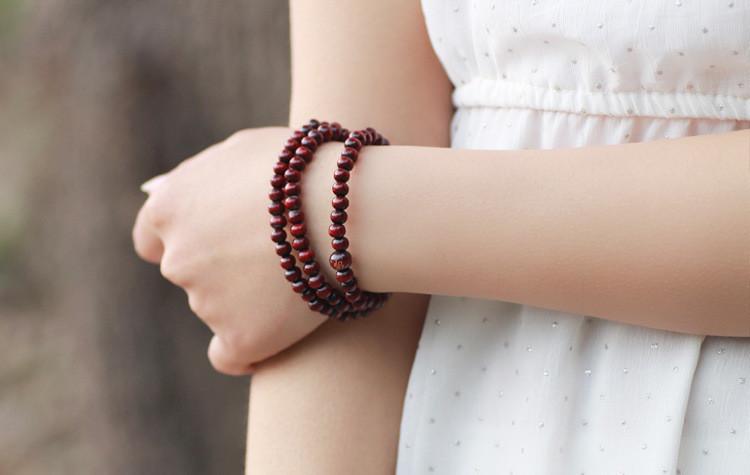 108紫檀香木佛珠多层手链