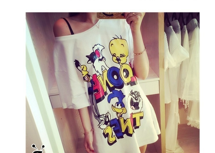 【卡通小鸭子宽松短袖长t连衣裙】-衣服-裙子