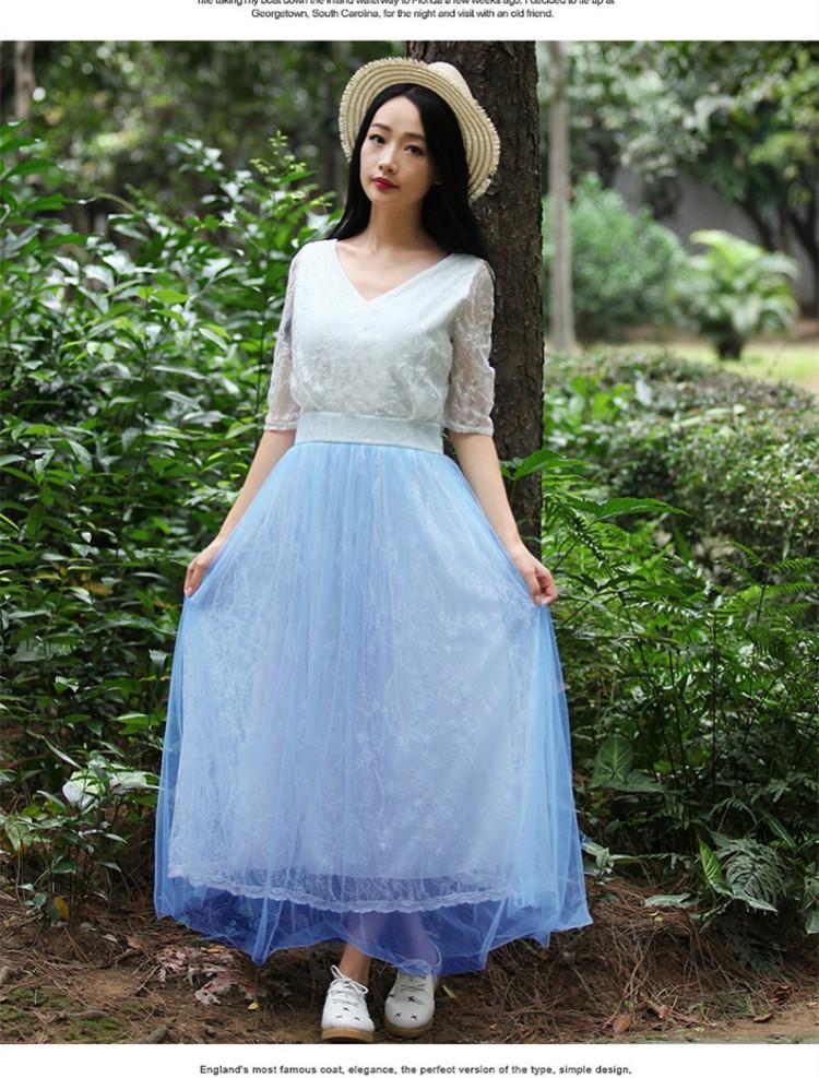 欧式宫廷蕾丝拼接网纱裙】-衣服-裙子