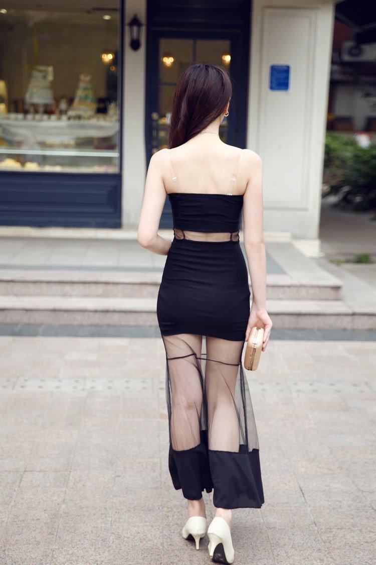 纯色网纱拼接透视抹胸包臀连衣裙