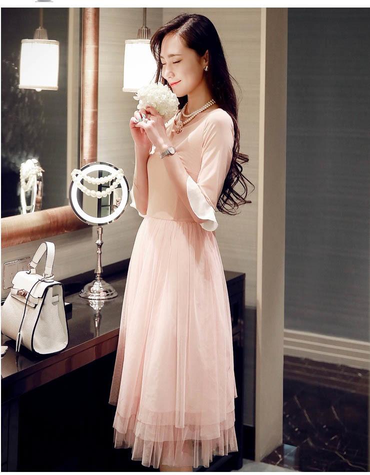 时尚荷叶袖 网纱裙