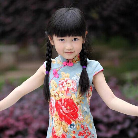 儿童旗袍 女童 童装 夏天 棉麻古典田园 旗袍 唐装儿童表演服
