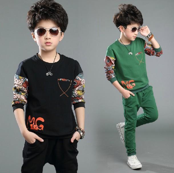 儿童装春秋款男童套装 10-15岁6-7-9-11男孩秋装运动卫衣两件套潮