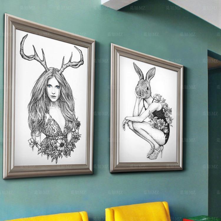 觅知美式手绘壁画服装店装饰画森林系兔女郎高端橱窗