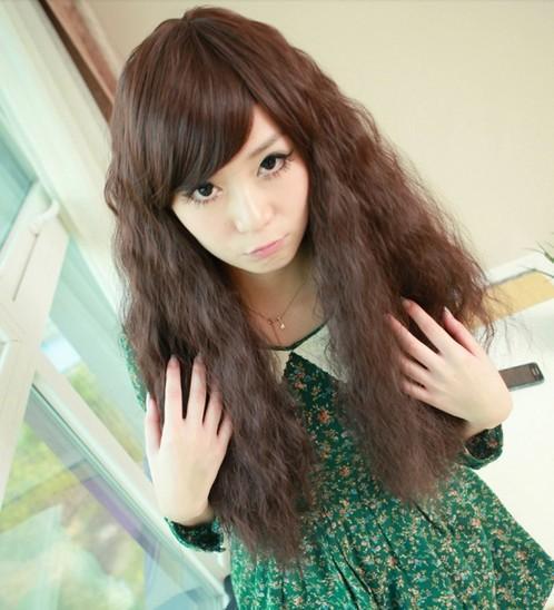 高温丝假发女生蓬松长卷发长发小卷发玉米烫烟花烫斜刘海黑色棕色图片
