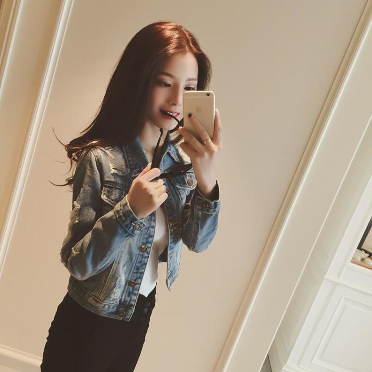 欧美2015秋装韩国新款时尚牛仔破洞长袖修身短外套女