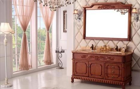 柜简欧式仿古浴室柜橡木落地洗脸盆组合大理石台面
