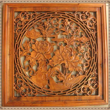 琢木堂木雕 方形镂空加框牡丹花