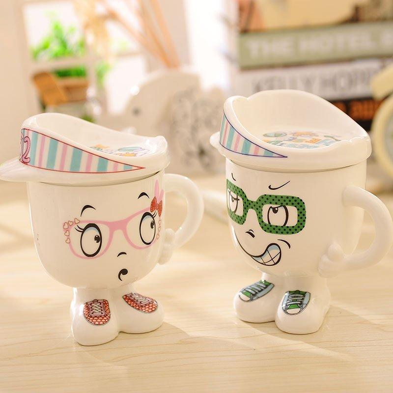 时尚创意卡通帽子杯,多种表情新奇水杯陶瓷杯子