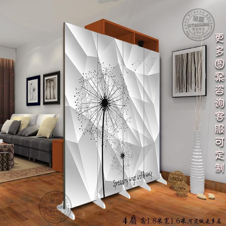 木质屏风隔断玄关卧室房间办公室客厅折叠双面布艺屏障宜家装饰