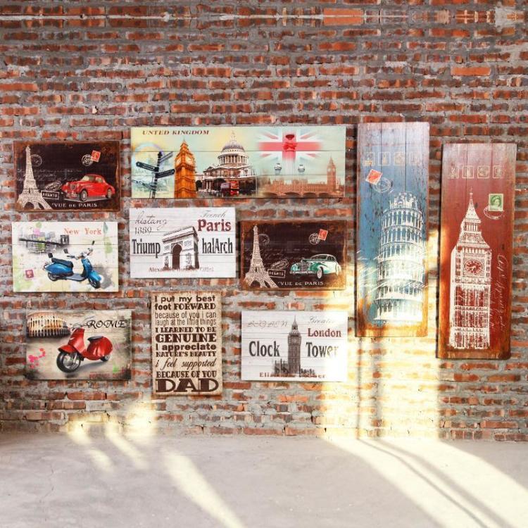 美式复古怀旧创意墙面装饰木板画服装店咖啡馆壁挂