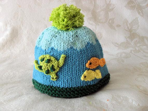 纯手工编织海洋系列婴儿毛线帽子 男女宝宝秋冬保暖帽