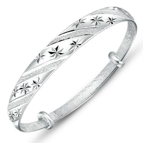 韩版时尚纯银饰品推拉环流星雨款手镯 女 银手环