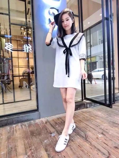 5 韩版韩版拼接花纹压褶边边绑带中长款衫