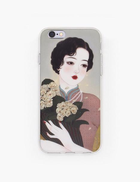 木与石原创手绘插画苹果手机软壳《泸上花》系列