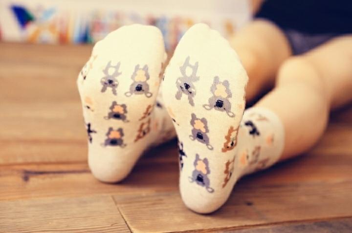 【caramella闺蜜袜子动物浣熊兔子彩色点点中筒女