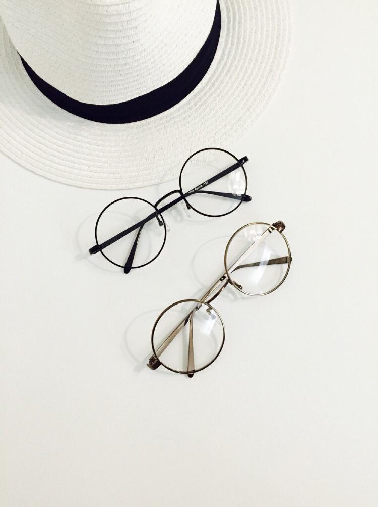 实拍简约文艺风复古圆形平光镜 眼镜