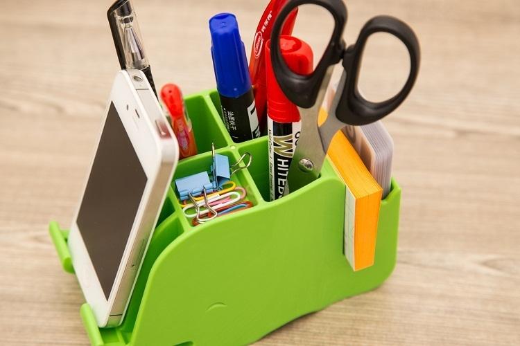 【萌趣】多功能笔筒桌面整理收纳盒办公文具礼品 创意手机座支架
