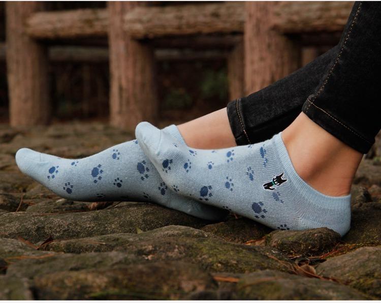 【5双装可爱猫爪小猫刺绣女袜】-内衣-女士内衣/家居