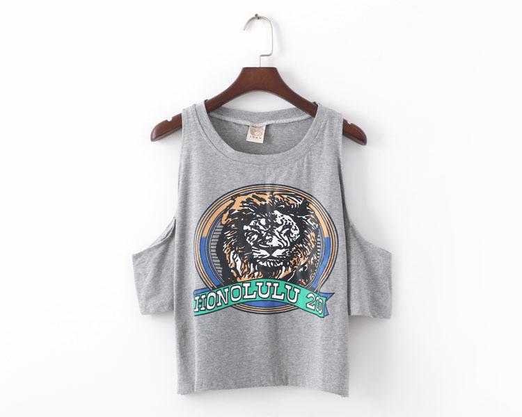 【森林家】韩国新款原宿风字母老虎头露肩t恤