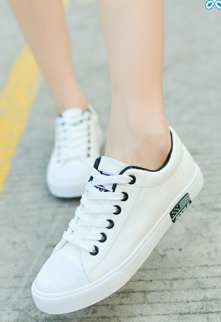 夏季新款纯色内增高平底板帆布鞋
