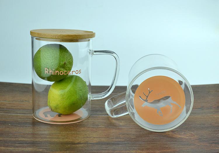 创意zakka玻璃杯透明带盖玻璃水杯花茶杯卡通动物可爱杯子