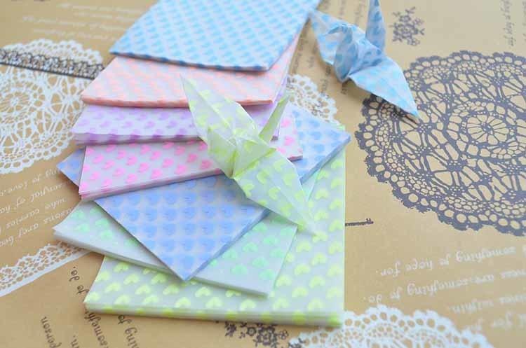 夜光千纸鹤爱心玫瑰折纸 儿童diy手工材料彩色折纸