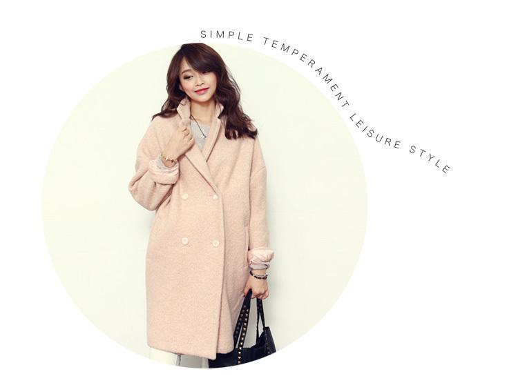 【2015新款韩版冬春秋款中长茧型羊毛大衣毛呢外套女